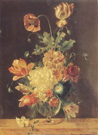 still life of peonies, tulips, a poppy, morning glories and other flowers in a glass vase by adriana van ravenswaay