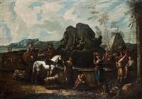 cavaliers et paysans, à la fontaine de neptune by pieter mulier the younger