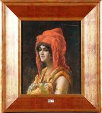 portrait de jeune femme orientale by andre chaumiere