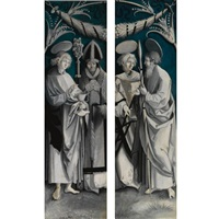 saint john the evangelist and saint erasmus (+ saint laurence and saint thomas; pair) by hans (suess von) kulmbach