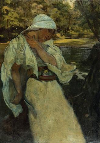 zamyšlená dívka v krajině s řekou by alphonse mucha