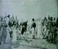 la reception de napoleon bonaparte et josephine par les   echevins et bourgmestres de la ville d'anvers le 18... by leon eugene august abry