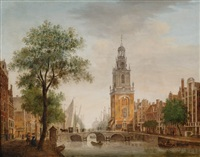 view of the jan roodenpoort-tower in amsterdam by johannes huibert (hendric) prins
