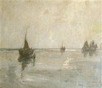 ships in a bay, antwerp by richard baseleer
