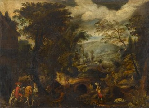 hunting party in an extensive landscape by alexander keirincx