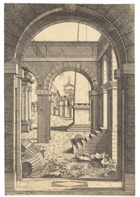 an architectural capriccio with ruins and an obelisk by antonio fantuzzi
