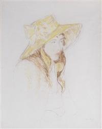 fillette au chapeau by berthe morisot