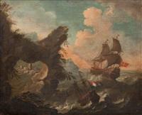 navire en mer près des côtes by pieter mulier the younger