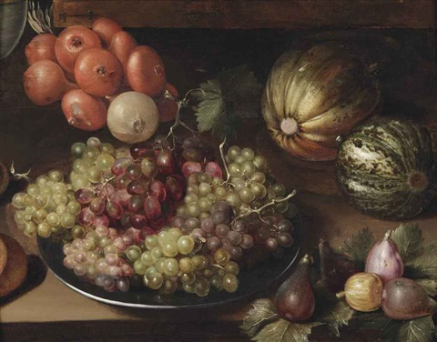 white and red grapes on a pewter plate a string of onions two melons and figs all on a wooden table by georg flegel