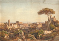 view of the colosseum from the palatine hill, rome by salomon corrodi