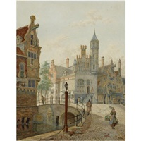 a view of a town by jan hendrik verheyen