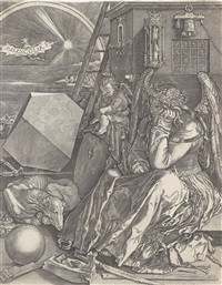 melencolia i, nach albrecht dürer by hieronymus wierix