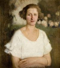 portret kobiety w białej bluzce by alfons karpinski