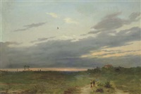 sunset landscape with two figures on a track by carlo piacenza