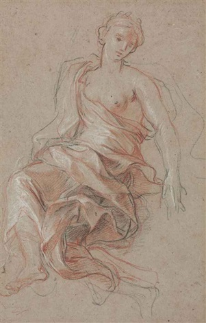 a draped female figure study for labondance by antoine coypel