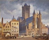 der marktplatz mit der nikolaikirche in gent by johann philipp eduard gaertner