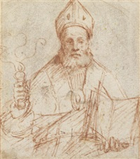 saint ambrose (+ a fragmentary sketch of a figure, verso) by galeazzo campi