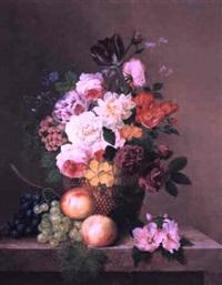 nature morte avec des roses, tulipes, raisins, et pêches by arnoldus bloemers