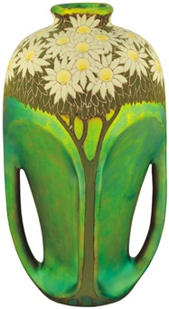 four-handled vase with daisy decor by sandor apati abt
