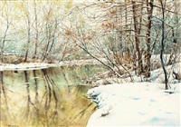 a snowy river landscape by charles frechon