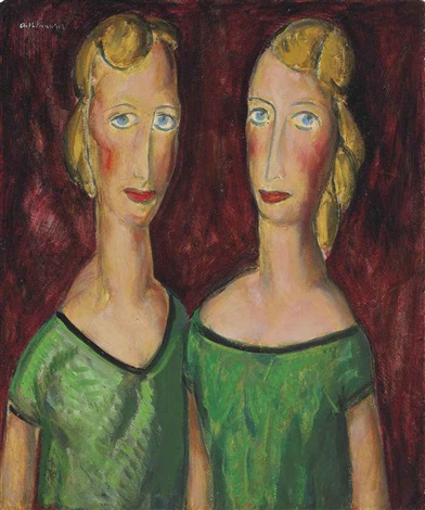 two sisters in green by alfred henry maurer