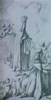 san ildefonso recibiendo la casulla de manos de la virgen by antonio velazquez