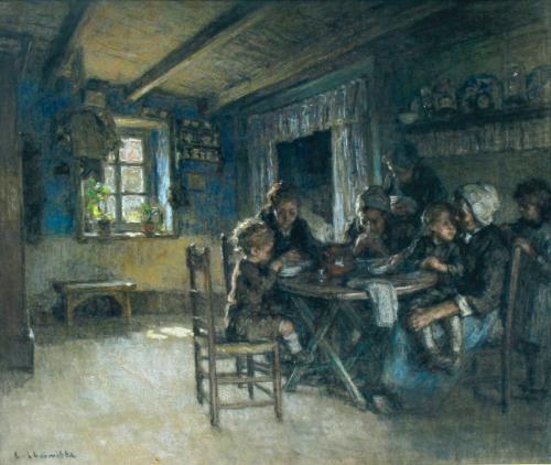repas en famille à wissant by léon augustin lhermitte