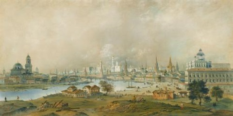 view of the moscow kremlin from ustinsky bridge by carlo bossoli