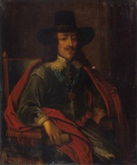 portrait of king charles i in a green jacket, red cloak an black hat by edward bower