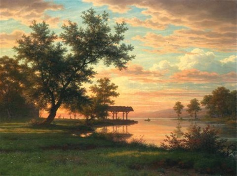 abendstimmung am seeufer evening atmosphere by the lakeside by robert zünd