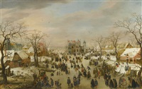 a panoramic winter landscape with a multitude of figures on a frozen river by hendrick avercamp