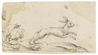 a running hare in a landscape by virgil solis