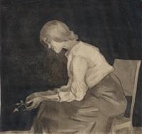 hustrun eva med ros by ivar arosenius