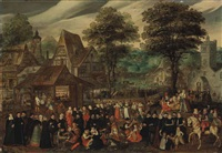 a village festival with elegantly dressed figures in procession, a river and tower beyond by joris (george) hoefnagel