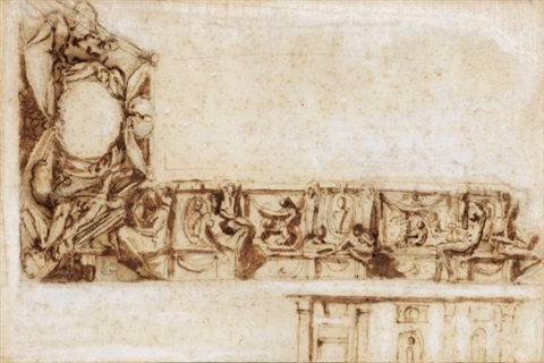 etude de frise silène avec putto verso by perino del vaga