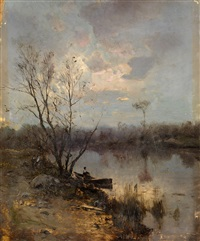 rowing boat by the bank of a river by sergei ivanovich vasil'kovsky
