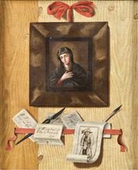 trompe l'oeil aux billets avec la figure de la vierge et une gravure d'après jacques callot by andrea domenico remps