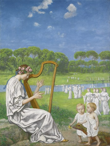 frühlingsmelodie spring melody by hans thoma
