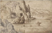 a coastal landscape with saint christopher by matthys (wellens de cock) cock
