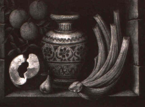 still life of fruit and a vase by isidoro millas