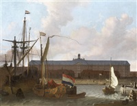 dutch ships at anchor, before the dock of the dutch east india company in amsterdam by hendrik rietschoof