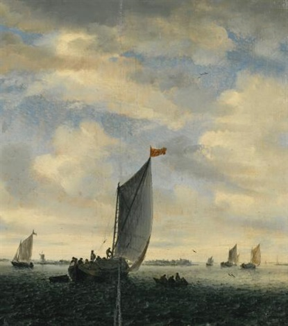 an estuary scene with smalschips on a broad reach before a gentle breeze by salomon van ruysdael