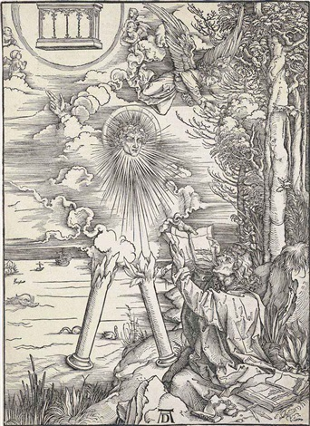 saint john devouring the book from the apocalypse by albrecht dürer