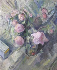 bouquet de pivoines roses by bernard altschuler