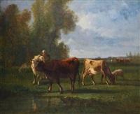 paysanne et ses vaches à la mare by antonio cortés cordero