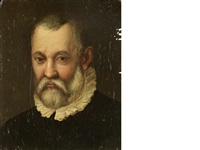 portrait of a bearded gentleman, bust-length, in a black coat and white ruff by italian school (16)