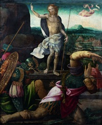 la résurrection du christ, vierge de l'annonciation (recto-verso) by bernaert (barend) van orley