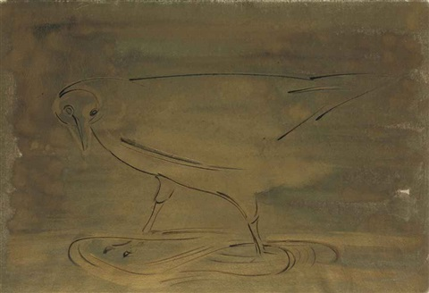 bird standing in the golden stream by morris graves