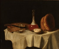 still life with decanter, bread, cheese and butter by george smith of chichester
