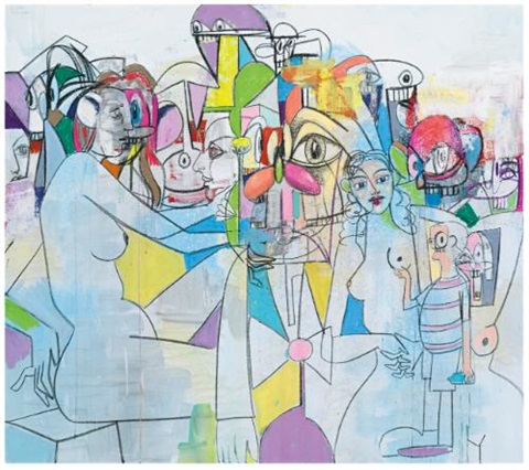 purple and yellow abstraction by george condo